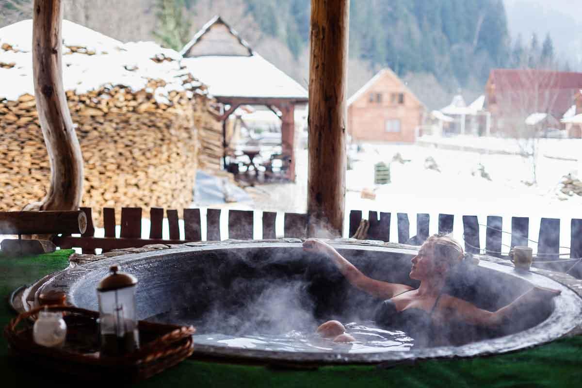 vakantiehuis met jacuzzi in de winter